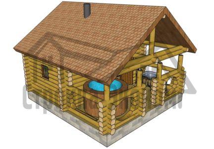 Баня 3,0 х 5,0 м с верандой 2,4х5,0 м